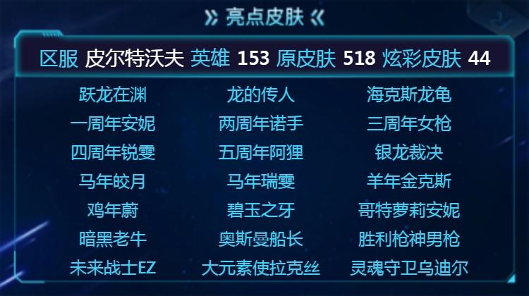 【皮尔特沃夫】 153英雄 518皮肤 44炫彩 4终极 3神话 112限定